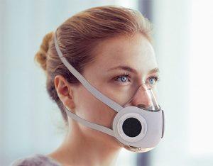 Concept de masque actif avec des valves d'admission d'air à 1 voie et une valve d'expiration centrale